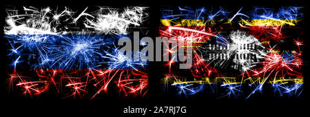 Russia, Russian vs Swaziland, Swazi New Year celebration sparkling fireworks flags concept background. Combination of two states flags. - Stock Photo