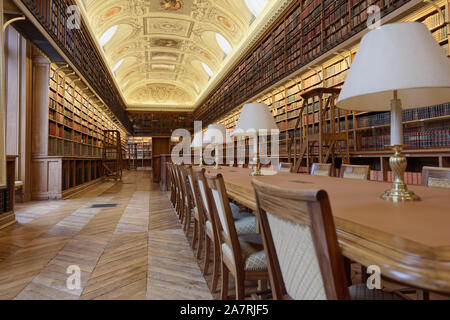 Paris, France - September 14, 2013: Library room of Luxembourg Palace. The palace was originally built in XVII century, and since 1958 it houses the F - Stock Photo