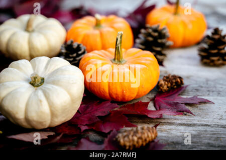 Festive autumn decor from pumpkins, pine and leaves on a  wooden background. Concept of Thanksgiving day or Halloween. Flat lay autumn composition wit - Stock Photo