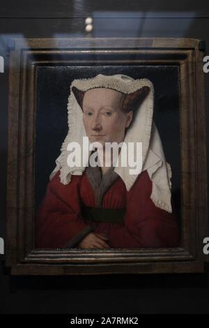 Jan van Eyck painting in the Groeningemuseum in Bruges, Belgium. Portrait of Margareta van Eyck, 1439. - Stock Photo