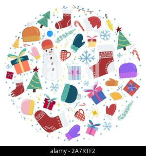 Flat greeting card template with christmas circle concept. Snowman, gift boxes, hat and mitten, Vector banner, poster set. - Stock Photo