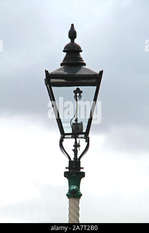 A Gas Powered Vintage Railway Platform Lamp Light. - Stock Photo