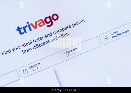 Trivago website on a laptop computer for comparing prices of hotels, UK - Stock Photo