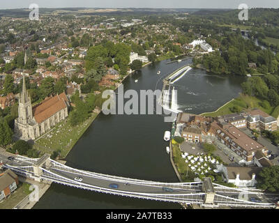 Marlow Bridge and weir from above - Stock Photo