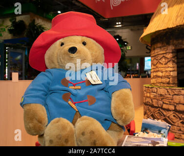 London, UK. 4th Nov, 2019. Paddington Bear is a mascot for Peru as the World Travel Market London opens at Excel it introduces global travel buyers to over 5,000 of the biggest destinations and brands in the world. It aims to give the global travel trade an insight of how the industry will look in the next five years, share innovations, and create endless business opportunities over the course of three days. Credit: Keith Larby/Alamy Live News - Stock Photo