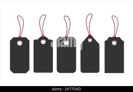 Blank tags or sale shopping labels set with rope. - Stock Photo