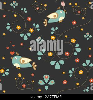 Seamless pattern with funny birds on brown background with small flowers and branches. Vector Illustration
