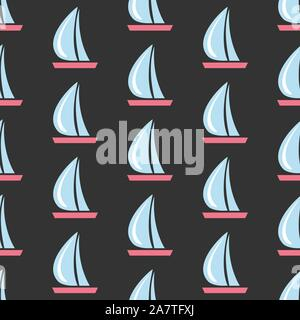 Seamless pattern with sail boats on dark background.Great for wall art design, gift paper, wrapping, fabric, textile, etc. Vector Illustration - Stock Photo
