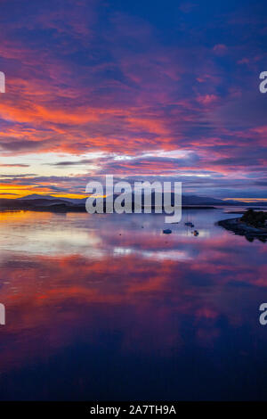Sunset over Mull and the Firth of Lorne, Argyll - Stock Photo