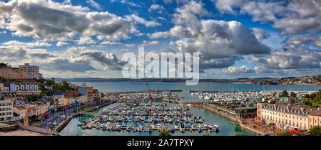 GB - DEVON: Panoramic view of Torquay Inner Harbour and Marina  HDR-Image) - Stock Photo