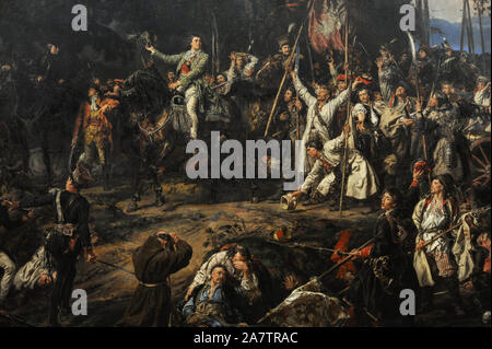 Tadeusz Kosciuszko (1746-1817). Polish General. Kosciuszko in Raclawice, 1888, by Jan Matejko (1838-1893). Kosciuszko led the Polish troops against the Russian Empire at the Battle of Raclawice (April 4, 1794). Detail. 19th Century Polish Art Gallery (Sukiennice Museum). National Museum of Krakow. Poland. - Stock Photo
