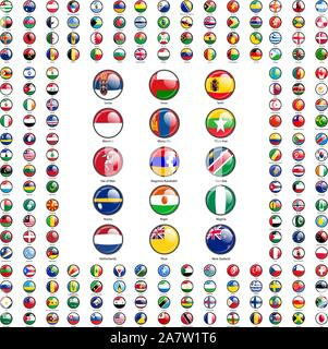 Set circle icon Flags of world sovereign states signed by the countries names. - Stock Photo