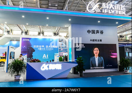 Booth of iFlytek, a Chinese information technology company, at the 12th China-Northeast Asia Expo starts in Changchun city, northeast China's Jilin pr - Stock Photo
