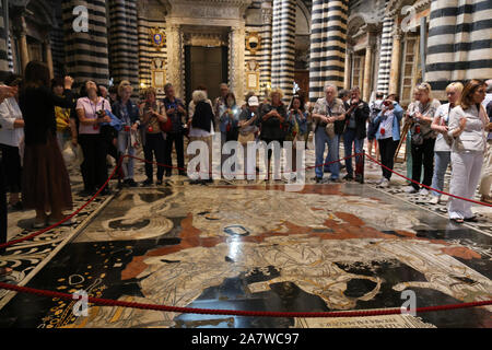 Interior view of the floor mosaic and the line of tourists at the Cathedral of Santa Maria Assunta in Siena, Italy. - Stock Photo