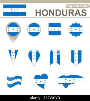Honduras Flag Collection, 12 versions - Stock Photo