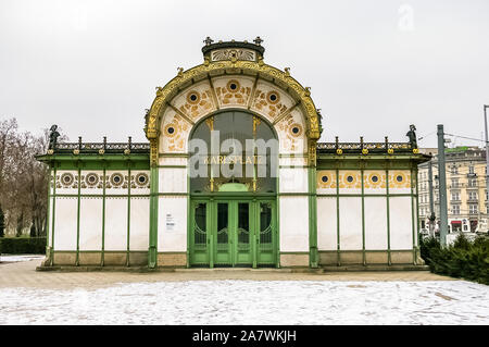 Karlsplatz Stadtbahn Station in Vienna, Austria. Designed by Otto Wagner in 1899, now museum. - Stock Photo