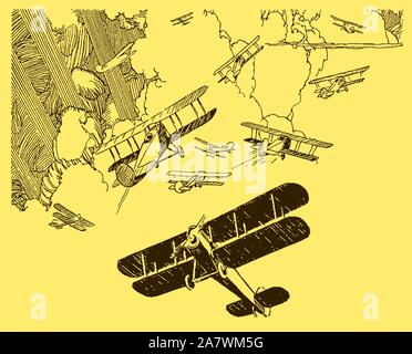Lot of historic planes manoeuvring in front of large cumulus clouds broken by sunbeams on a yellow background - Stock Photo