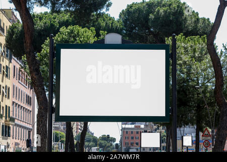 Large blank billboard on the street in the city, mock up - Image - Stock Photo