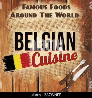Famous foods around the World vintage card. Belgian cuisine retro style poster, vector illustration - Stock Photo