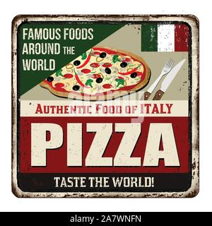 Famous foods around the world. Pizza vintage rusty metal sign on a white background, vector illustration - Stock Photo