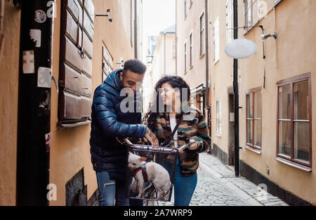 couple laughing together whilst cycling with their dog in the basket - Stock Photo