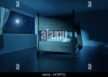 3d rendering of spacious bedroom with wooden bunk bed in the full moon light - Stock Photo