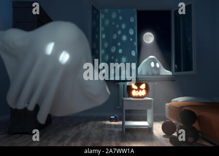 3d rendering of children's room at night with flying ghosts and lighten jack o' lantern. Concept Halloween - Stock Photo