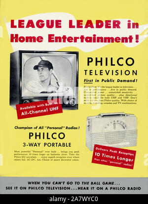 Vintage 1950s era print advertisement for a Philco television depicting a black and white image of a baseball player. - Stock Photo