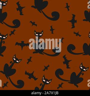 Seamless pattern of Halloween cats and bats in black, traditional orange background. Good for textile print, web, paper, wrapping, fabric, backgrounds - Stock Photo