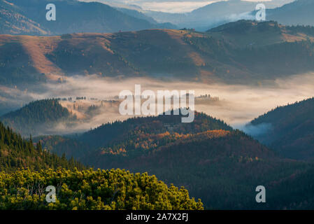 Beautiful morning high in the Carpathian mountains with clouds and fog laying down in the valley - Stock Photo