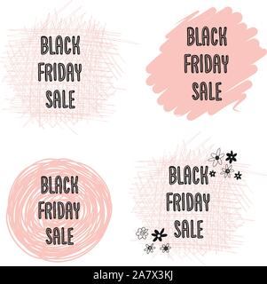 Feminine Black Friday Sales Banner Set Vector. Handwritten typography on dots, circles, scribbles in pink for promotional flyers, cards. Cute women - Stock Photo