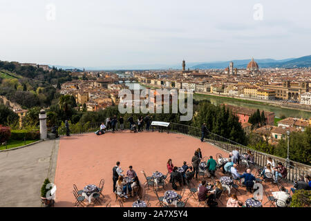 FLORENCE, ITALY - 25, MARCH, 2016: Horizontal picture of a touristic viewpoint at Piazza Michelangelo of beautiful city Florence, Italy - Stock Photo