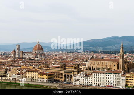 FLORENCE, ITALY - 25, MARCH, 2016: Horizontal picture of touristics places of Florence from the view of Piazza Michelangelo in Italy - Stock Photo