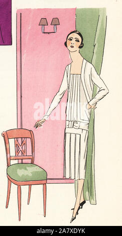 Woman in white afternoon dress. Handcolored pochoir (stencil) lithograph from the French luxury fashion magazine Art, Gout, Beaute, 1925. - Stock Photo