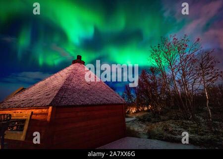 Nordlichter   Aurora Borealis, Northern Lights, Tromsö, lights, moving, dancing in Troms, Grillcabin, Grillhütte, Nordlichter, - Stock Photo