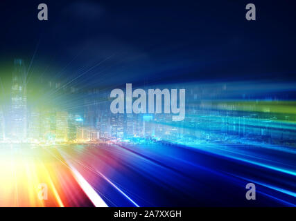 Abstract colorful circular bokeh with city background. Double exposure
