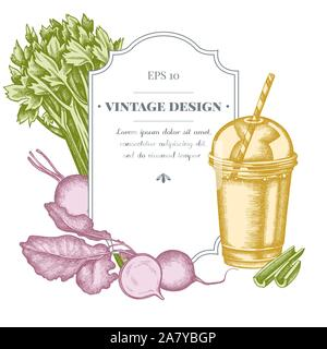 Badge design with pastel beet, smoothie cup, celery stock illustration - Stock Photo