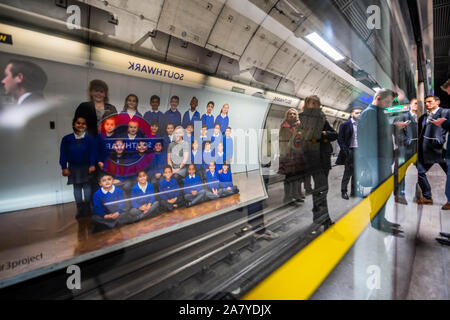 Southwark Station, London, UK. 5th Nov 2019. Steve McQueen's Year 3 project can now be seen on over 600 billboards across all 33 of London's boroughs. The billboards feature class photos of Year 3 school children from London primary schools. The billboards are on high streets, railway platforms, roadside sites, and underground stations until mid-November. All the school photos will be presented together in a large-scale installation at Tate Britain on show from 12 November 2019 – 3 May 2020. Credit: Guy Bell/Alamy Live News - Stock Photo