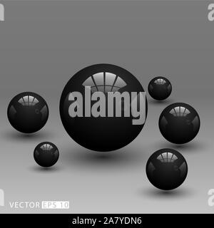 Realistic 3D black ball. Vector illustration in eps 10 - Stock Photo