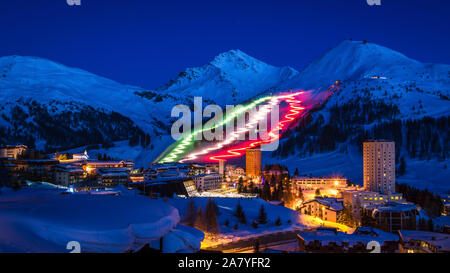 Fiaccolata at Sestriere, a famous event from mountains town - Stock Photo