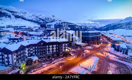 The town of Sestriere, Piedmont, Italy - Stock Photo