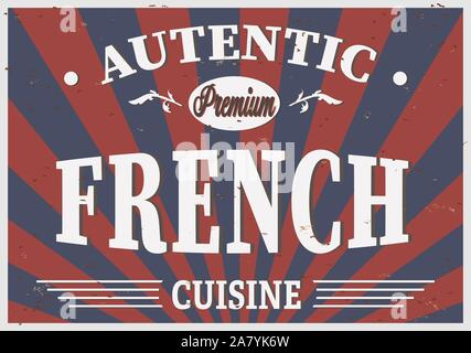 Autentic Premium French cuisine retro style poster, vector illustration - Stock Photo
