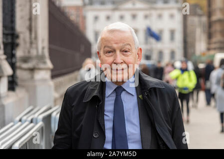 Members of Parliament are arriving at the House of Commons for their last day of debates before Parliament is dissolved in preparation for the general election on 12th December, beginning a period known as 'purdah' when no major policy announcements or significant commitments will be made. Frank Field MP arriving - Stock Photo