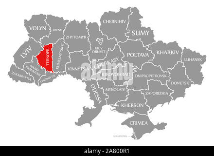 Ternopil red highlighted in map of the Ukraine - Stock Photo