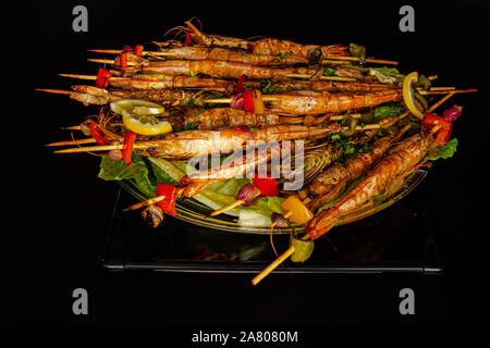 Grilled shrimp skewers. Seafood, shelfish. Shrimps - Stock Photo