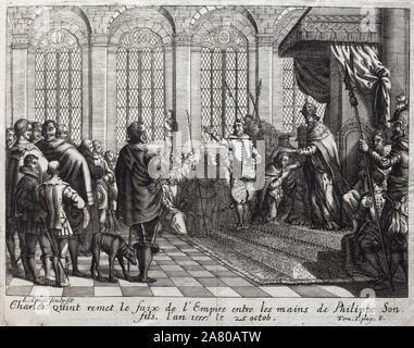 Charles Quint (1500-1558) remet le faix de l'Empire entre les mains de Philippe II (Felipe) (1527-1598), son fils, le 25 octobre 1555. Gravure pour il - Stock Photo