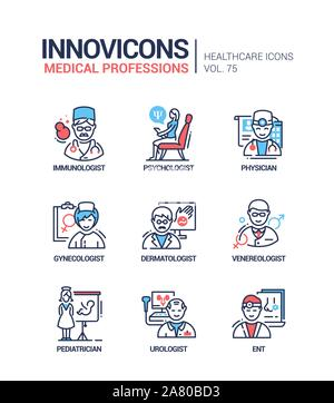 Medical professions line design style icons set - Stock Photo