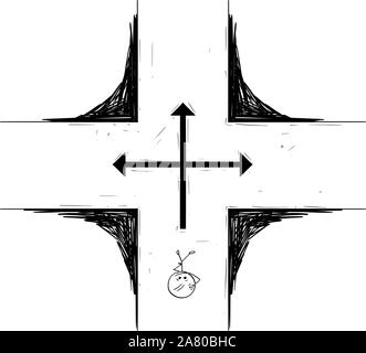 Vector cartoon stick figure drawing conceptual illustration of man or businessman standing on crossroad and making decision about the future.