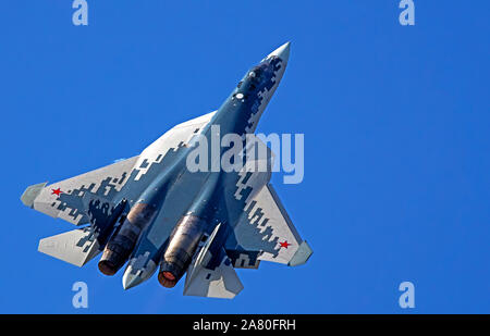 Sukhoi Su-57 (Felon) is a stealth, single-seat, twin-engine multirole fifth-generation jet fighter being developed since 2002 for air superiority and - Stock Photo