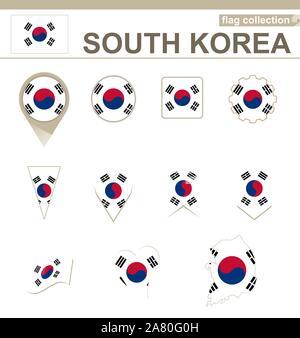 South Korea Flag Collection, 12 versions - Stock Photo